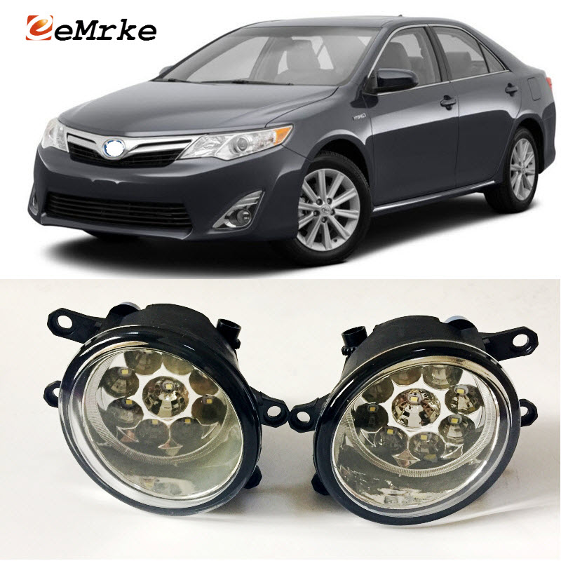 EEMRKE Car-Styling For Toyota Camry Hybrid 2010-2014 US Type 9-Pieces Led Halogen Fog Lights 12V 55W Fog Head Lamp fog light set 12v 55w car fog lights lamp for toyota hiace 2014 on clear lens wiring kit free shipping