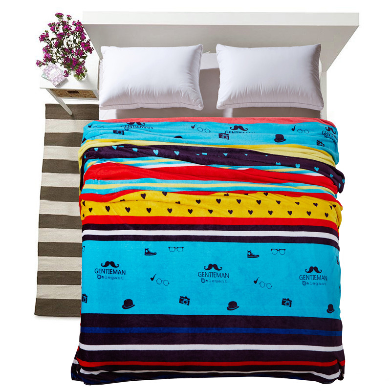 Cozzy Modern Plush Fleece Flannel Blanket for Beds <font><b>Sofa</b></font> Couch Multicolor Stripes for Child or Adult Single Twin Full Queen King