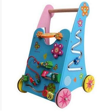 Infant toys multifunctional wooden trolley baby walker walker toys