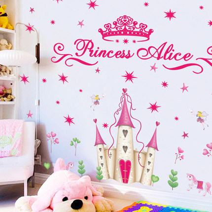 Creative Fashion Cartoon New Arrival Wallpaper Lovely Prince Princess Castle Wall Stickers For Kids Rooms Free Shipping In From Home Garden