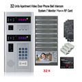 Home security 2pcs outdoor device 32 Units Apartment Video Door Phone Bell Intercom System 7 Monitor 70PCS RF Card free shipping