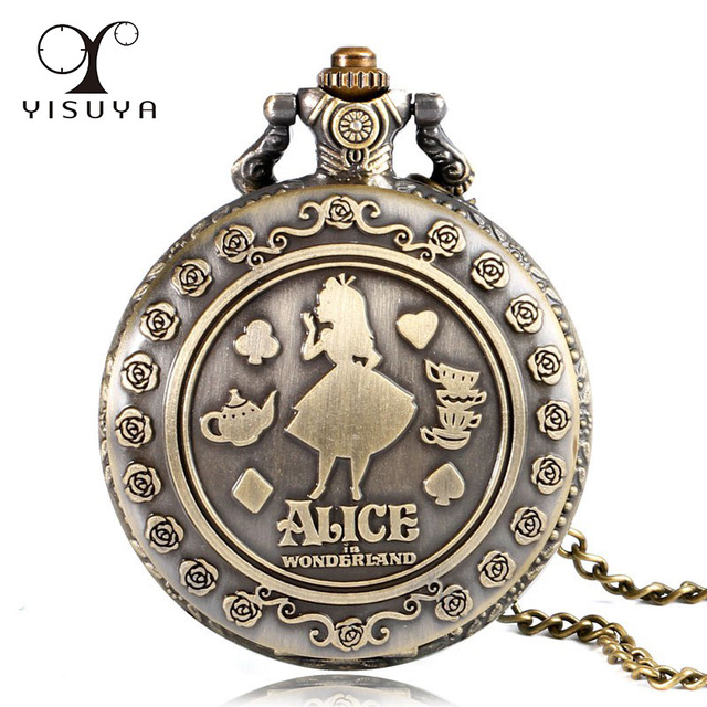 Vintage Style Women Girl Copper Classic Gift Round Pocket Watch Full Hunter Fob