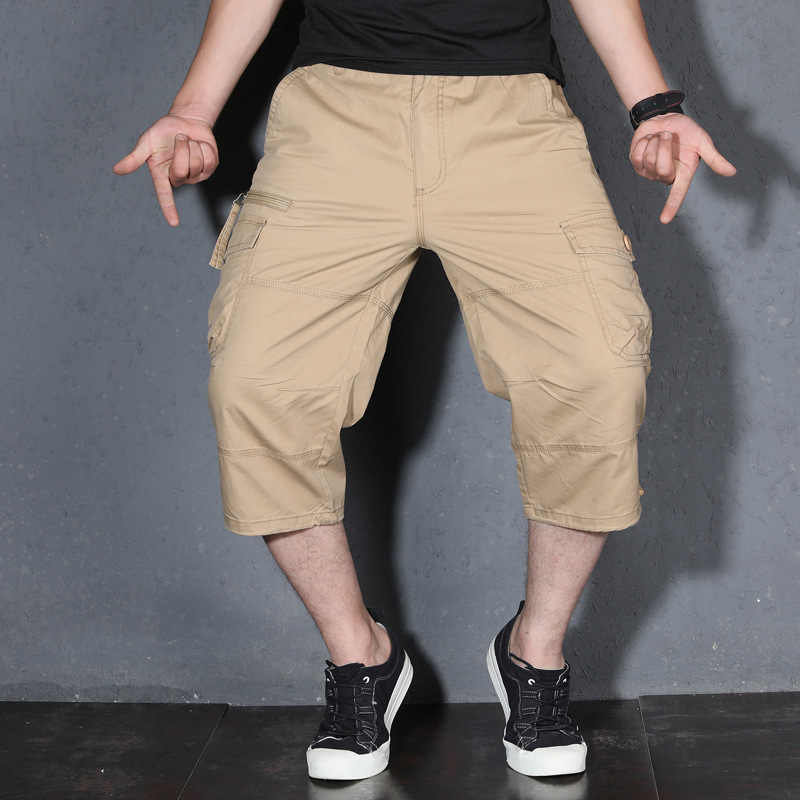 Men's Summer Cargo Short Pants 3/4 Length Straight Loose Baggy Short Boardshort Male Clothing Hip Hop Short Plus Size S-5XL
