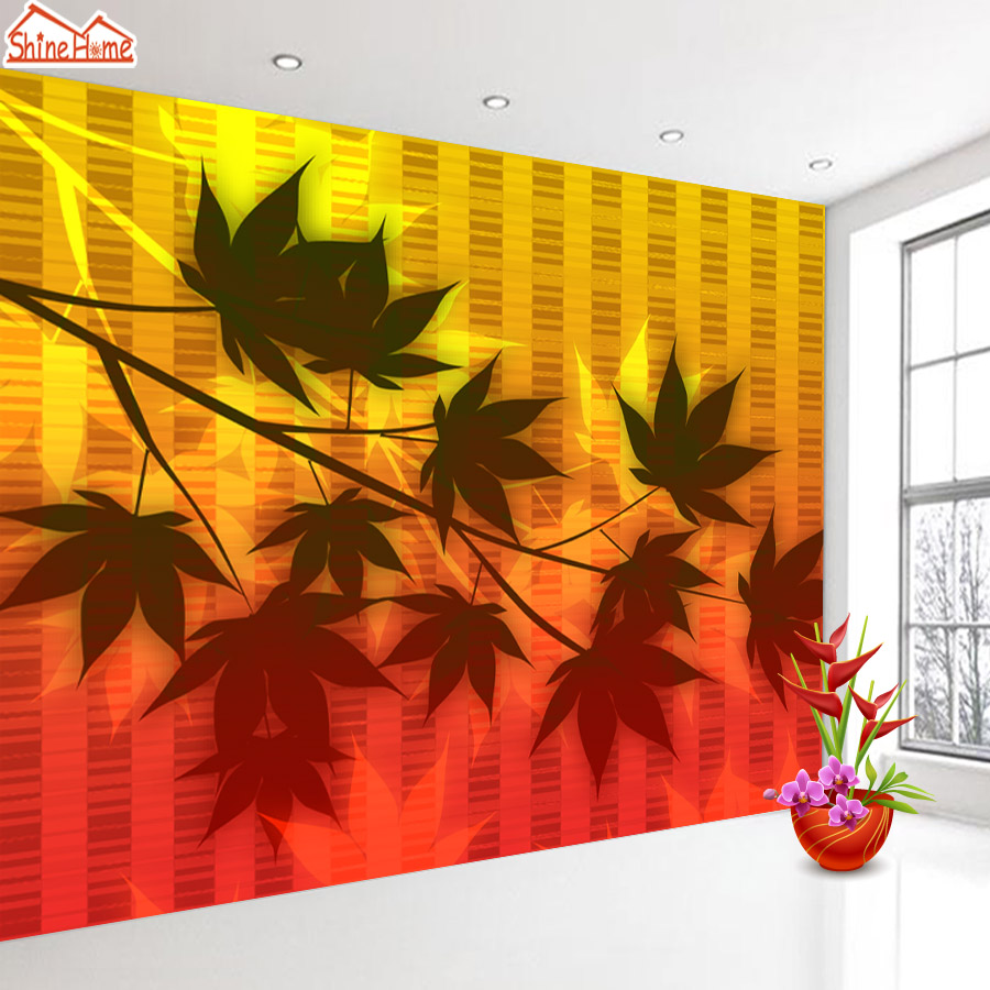 ShineHome-Maple leaf Floral Golden Wallpaper for 3d Rooms Walls Wallpapers for 3 d  Living Room Wall Paper Murals Mural Roll shinehome red rose bloom golden golden wallpaper for 3d rooms walls wallpapers for 3 d living room wall paper murals mural roll