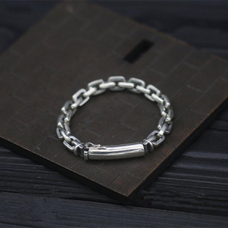 Pur argent massif 925 lien chaîne hommes Bracelet en argent Sterling réel 925 Cool Simple conception hommes bijoux Thai argent 7mm chaîne