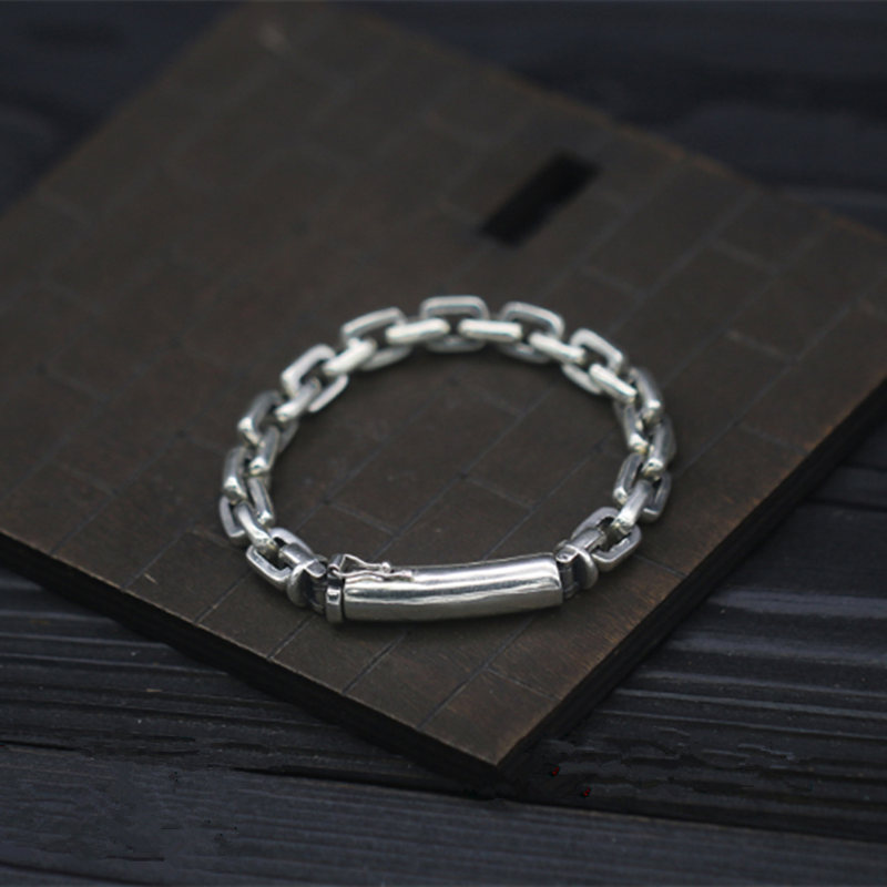 Pure Solid Silver 925 Link Chain Mens Bracelet Real Sterling Silver 925 Cool Simple Design Mens Jewelry Thai Silver 7mm Chain 8mm solid pure sterling silver 925 mens chain bracelet simple cool style thai silver mens jewelry polished link chain free box