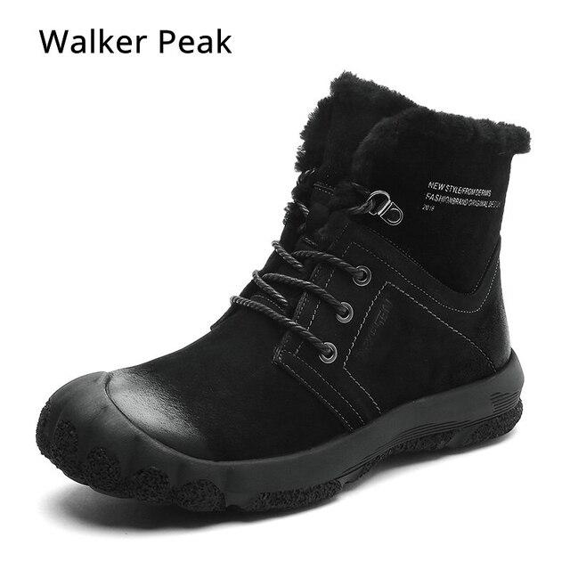 100% 本革の冬のブーツメンズ防水雪のブーツ屋外暖かい冬の靴抗コールドアンクルブーツウォーカーピーク