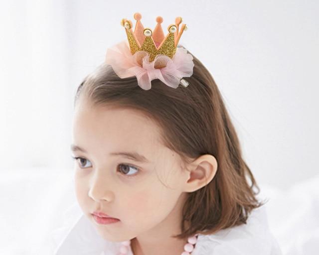 Pince à cheveux en dentelle pour filles | Épingles à cheveux en forme de couronne de princesse de mariage, épingles à cheveux en perles pour fête de noël, accessoires de cheveux en or et rose