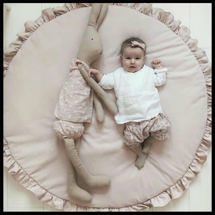 Ins Baby Padded Play Game Mats Cotton Crawling Mat For Babies Girls Blanket Round Floor Carpet For Kids Interior Room Decoration Batteries