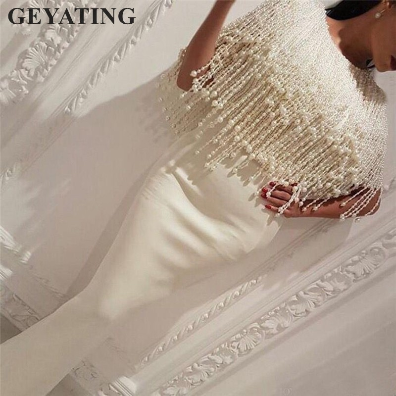 Elegant Long White Mermaid Arabic   Evening     Dress   2019 Dubai Kaftan Formal   Evening   Gowns with Tassel Pearls Beading Prom   Dresses