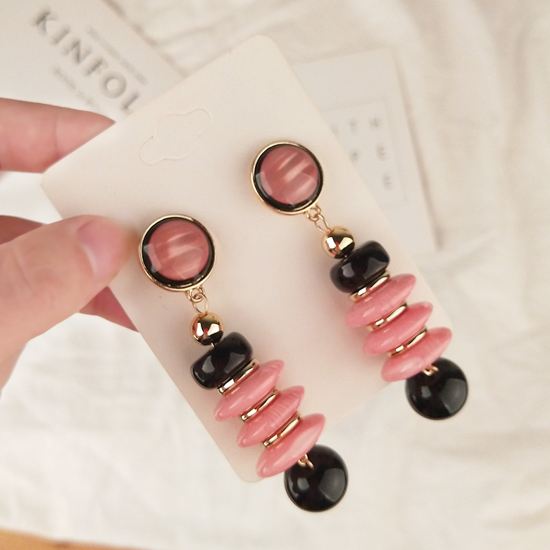 Vintage Fashion Resin Statement Earrings for Women Long Red Geometric Gold Metal Acrylic Drop Earring Elegant Gifts Jewelry (3)