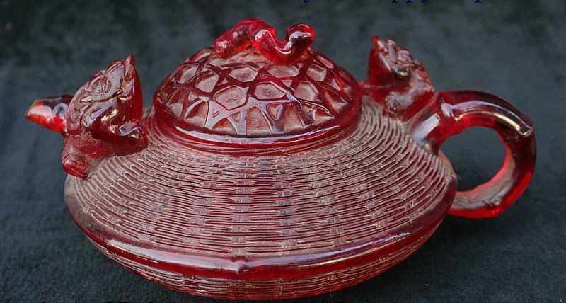 """9 """"China Amber Ukiran Tangan Kodok Emas Spittor Serangga Anggur Teh Pot Dibagikannya Patung"""