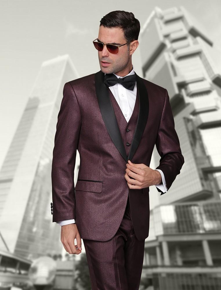 Online Shop 2015 Burgundy groom wear suits Black Lapel Jacket  ...