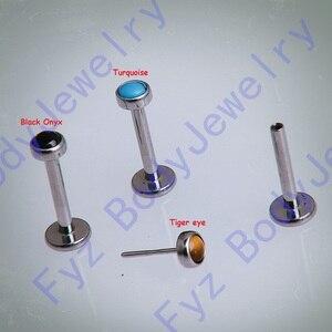 Image 2 - 16g 18g G23 التيتانيوم الملولبة دفع دبوس أسود الجزع الأذن الغضروف هيليكس الزنمة مربط Labret شفة ثقب مجوهرات للجسم