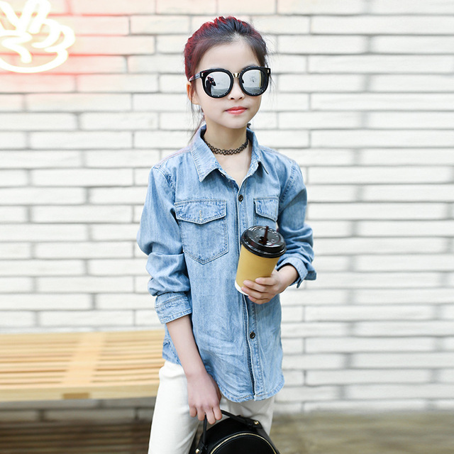Jeans Shirts for Girls 2018 Spring Autumn Long Blue Pockets Cotton Teenage Baby Girl Denim Shirt Long Sleeve Coats Kids Clothes