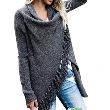 autumn and spring European style knit cardigan woman sweater fashion tassel irregular single button female