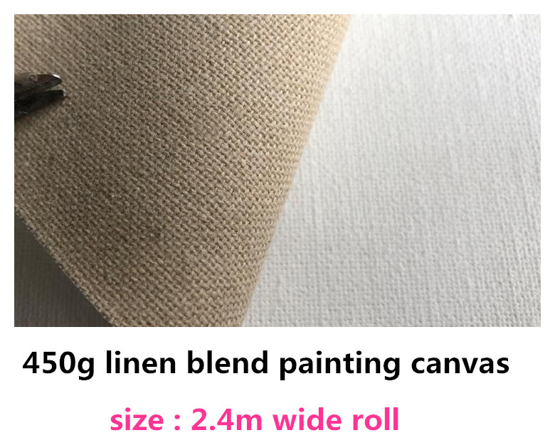 2.4m*10m roll linen blend fine texture 450gsm primed painting canvas roll-in Painting Canvas from Office & School Supplies    1