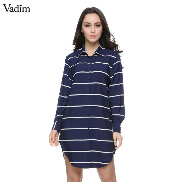 d6d518e5f Mulheres listrado azul longas blusas Blusas Femininas Europeia vintage turn  down collar manga comprida camisas do
