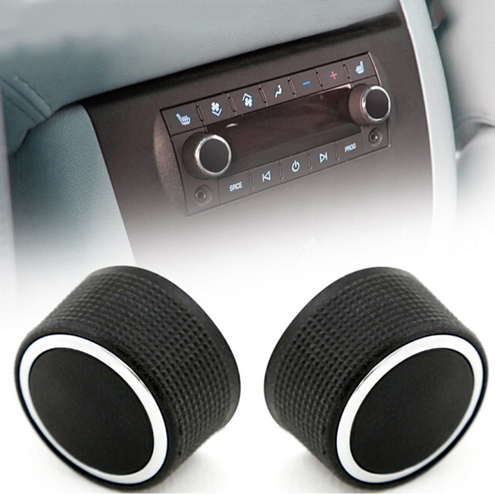 2Pcs Rear Control Knobs Audio Radio Keys for Chevrolet GMC Car-styling Conditioner Button Black Auto Accessories