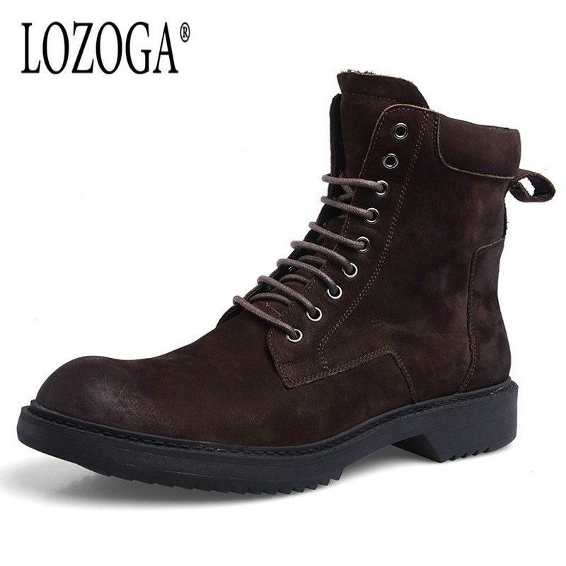 Lozoga Quality Genuine Leather shoes men Boots High Top Martin Motorcycle Autumn Winter shoes Lover snow Boots Free Shipping new 2017 autumn winter women genuine leather boots unisex martin boots motorcycle retro shoes high quality plus size 35 44