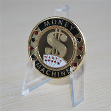 MONEY MACHINE ROYAL FLUSH POKER CARD PROTECTOR GUARD GOLD PLATED COIN TOKEN kr strikeforce royal flush double roller bowling bag