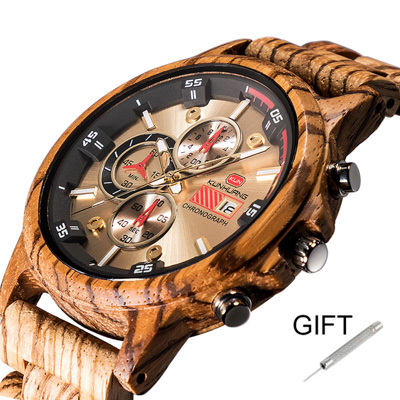 2019 new men wood watch luxury Chronograph brand mens quartz wristwatches wooden waterproof Multifunction Sport man watches