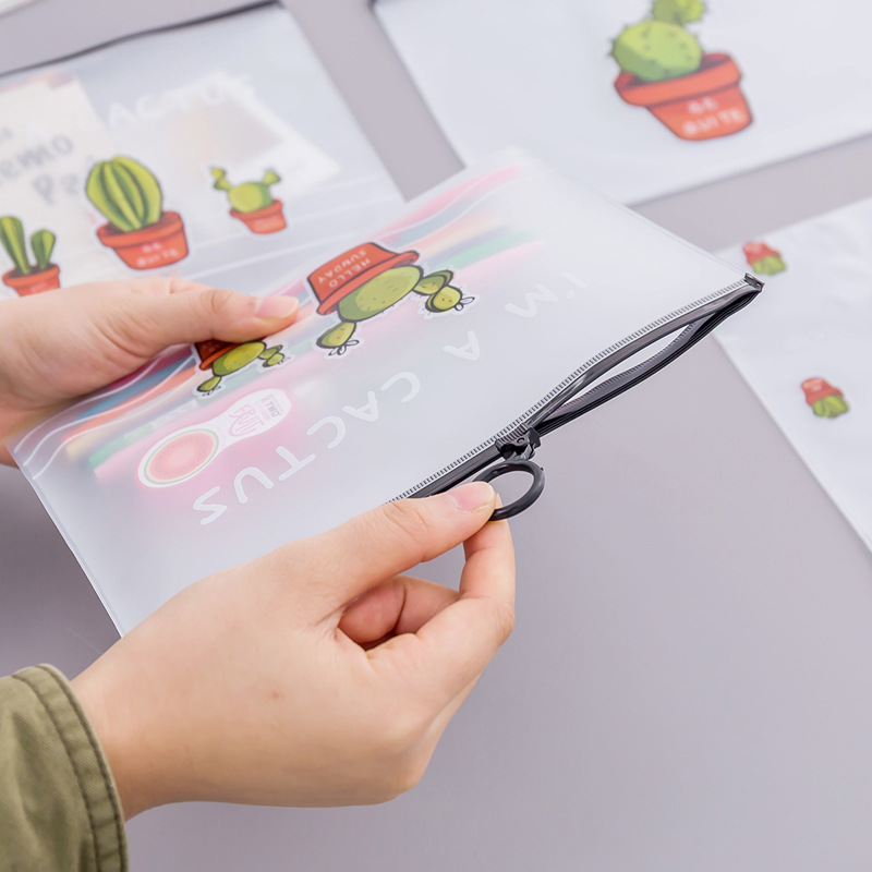 Dl South Korea Stationery Small Fresh Transparent Bag Cactus Ring Bulk Student Stationery Pen Exquisite Office Supplies
