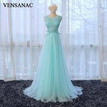VENSANAC 2018 O Neck A Line Sweep Train Beading Bow Sash Long Evening Dresses Party Crystal Lace Appliques Prom Gowns