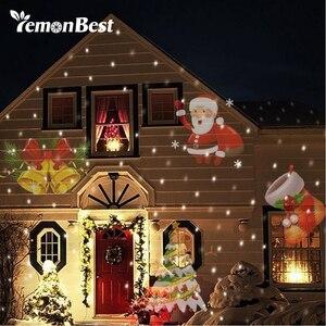 Image 1 - 12 דפוסי חג המולד לייזר פתית שלג מקרן ליל כל הקדושים חיצוני LED דיסקו אורות בית גן כוכב אור מקורה קישוט