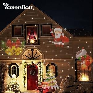 Image 1 - 12 Patterns Christmas Laser Snowflake Projector Halloween Outdoor LED Disco Lights Home Garden Star Light Indoor Decoration