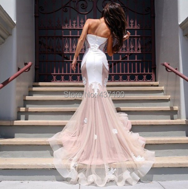 Aliexpress.com : Buy Sexy White Mermaid Prom Dress with Lace ...