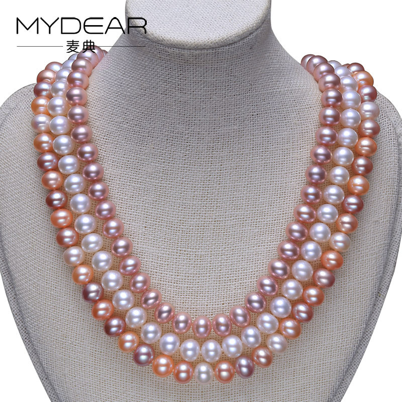 MYDEAR Fine Freshwater Pearl Necklace,8-9mm Freshwater Pearl Jewelry,Colorful,Nearly Round Shape,Nice Luster Chokers Necklaces 2017 elegant 8 9mm white freshwater aaaa pearl necklace 45cm bread round high luster women pearl pendant