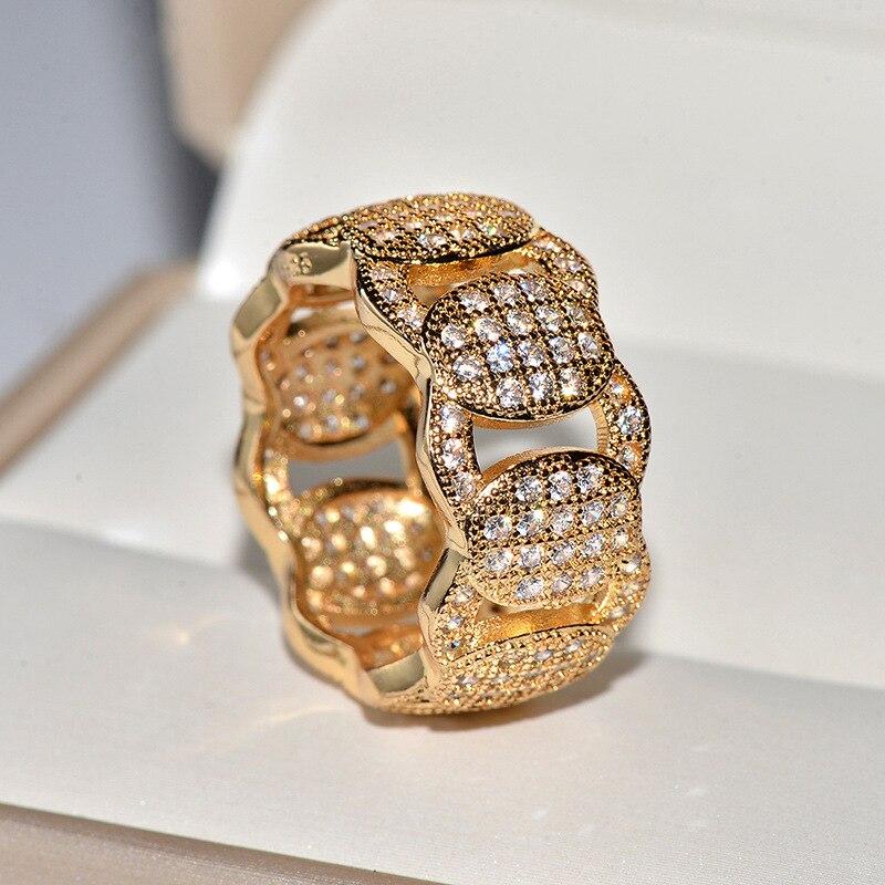 Купить мужские и женские золотые кольца в стиле хип хоп с крупными