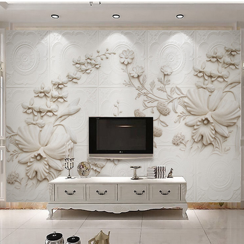 Us 21 3 46 Off 3d Wall Murals White European Style Orchid Flowers For Home Decoration Tv Sofa Background Wall Living Room 3d Stereo Wallpapers In