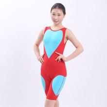 Women love patchwork One Piece Swimsuit Knee Long Swimwear Professional Athletic Bodysuit Olympics Sports Triathlon suit