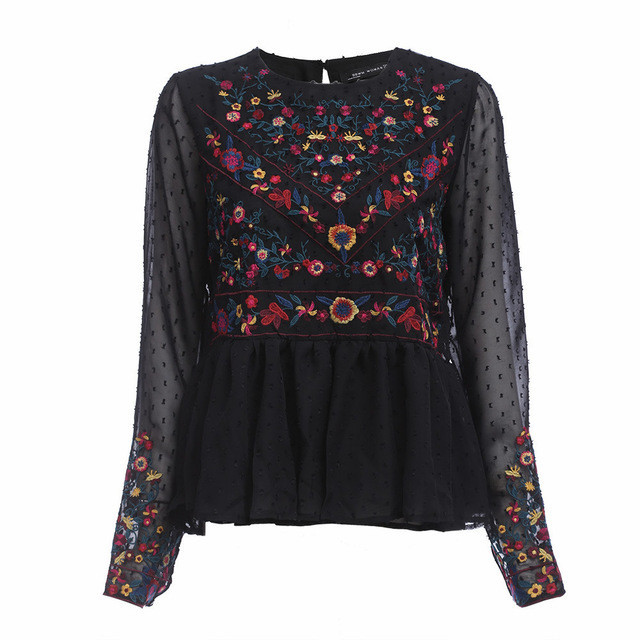 a27a657d Kenancy Women Embroidered Plumetis Blouse Flowers O-Neck Elegant Long  Sleeve Woman BohBlouse Blusas Women Clothing Casual Tops