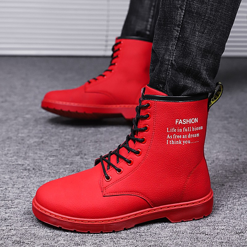 2018 New Cool Winter Men Shoes Black Red Casual Boots Male Comfortable Young Boy Casual Shoes Rubber Sole Mens Fashion Boots