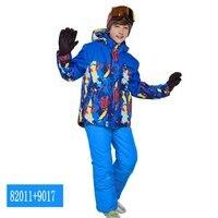Phibee Boys/Girls Ski Suit Waterproof Pants+Jacket Set Winter Sports Thickened Clothes Children's Ski Suits ski snow equipment