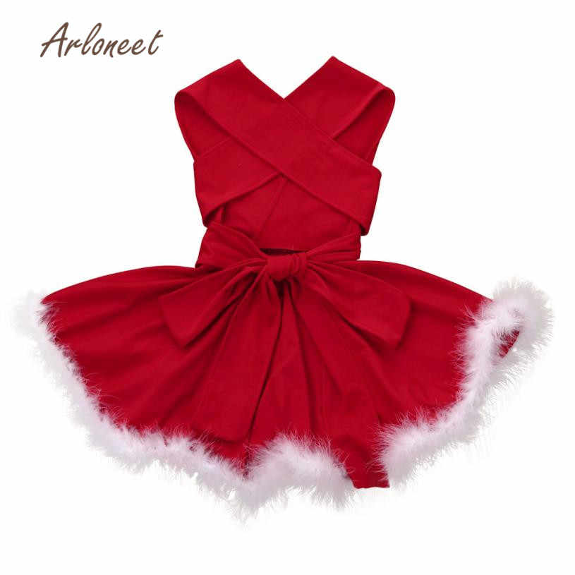 2017 new fashion Toddler Kid Baby Girl Christmas Clothes Bandge Sleeveless Pageant Party Xmas Dress drop shipping nov3