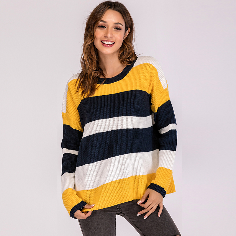 Harajuku Women Knitted Sweater Color Block Stripes Round Neck Long Sleeve Loose Casual Autumn Winter Pullover Tops Female Jumper