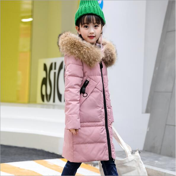 2018 New Children's Down Jacket Girls Long Thick Korean Winter Clothing Female Hooded Zipper Coat Long Sleeve Overcoat QC949
