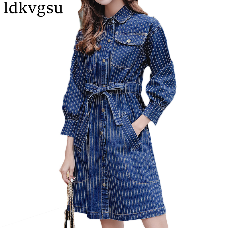 ce4ecbd13bb Fashion Large Size 5XL Women Denim Dress Spring Autumn 2018 Vintage Causal  Long Sleeve Stripe Shirt Jeans Dress Vestidos A53