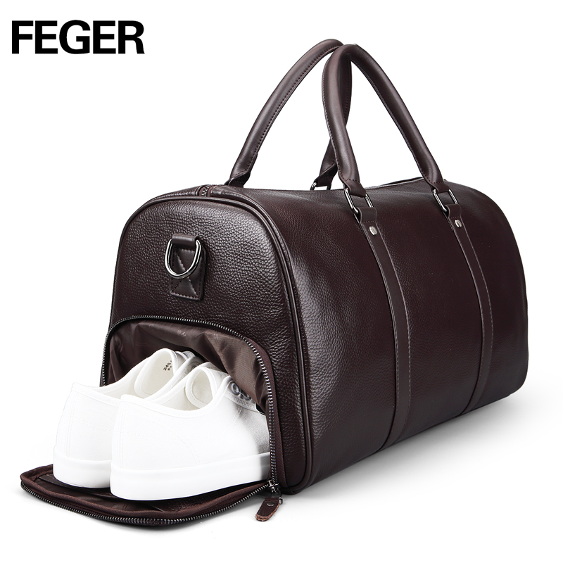 FEGER brand fashion extra large weekend duffel bag big genuine leather  business men s travel bag popular design duffle handbag -in Travel Bags  from Luggage ... 174e2f7255d6f