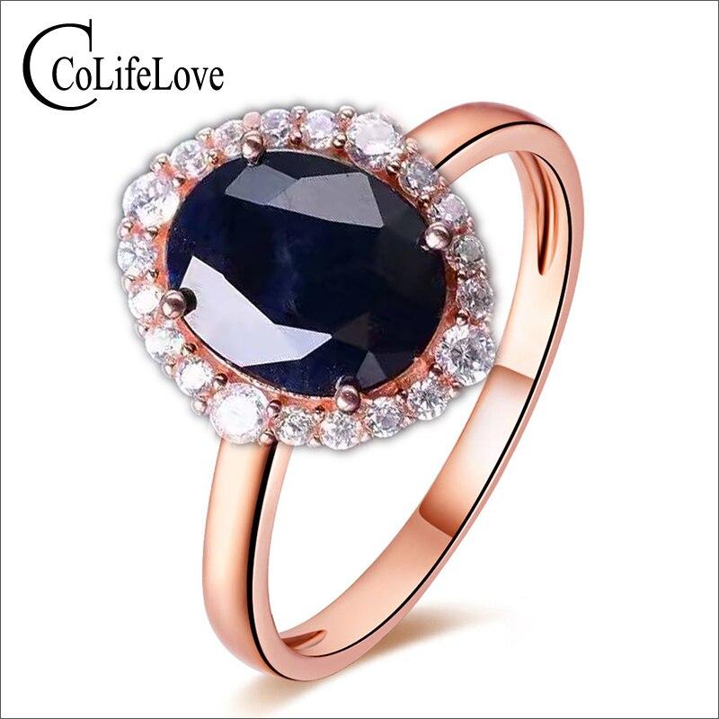 Elegancki pierścionek z szafirem 10*12mm naturalny czarny szafir z chińskiej szafirowej kopalni stałe 925 silvr sapphire kobieta wedding ring w Pierścionki od Biżuteria i akcesoria na  Grupa 1