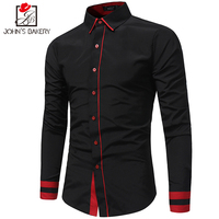 2017 New Fashion Brand Men Shirt Color Stitching Dress Shirt Long Sleeve Slim Fit Camisa Masculina