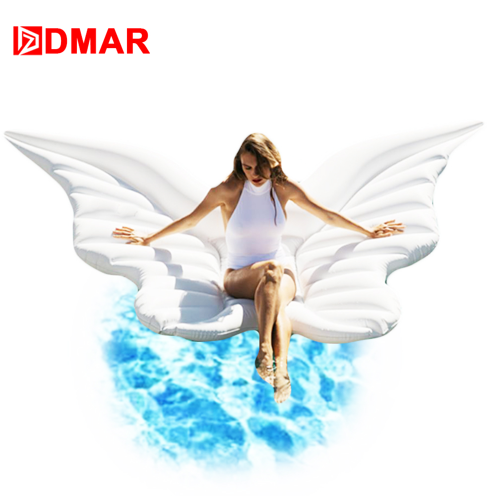 DMAR 250cm 98 Inflatable Angel Wings Giant Pool Float Toys Water Float Inflatable Mattress Swimming Ring Circle Beach Sea Party 1 9 1 9m hot giant pool swimming inflatable flamingo float air matters floating row swim rings summer water fun pool toys