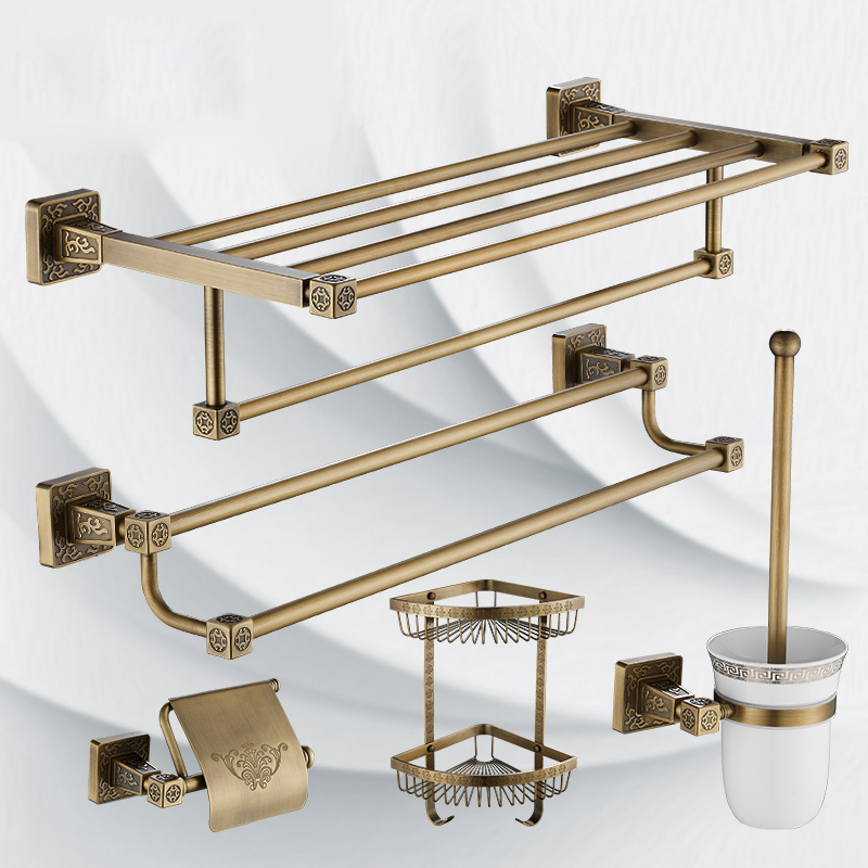 Antique Brass Bathroom Bath Towel Shelf Towel Bar Wall Mounted Bathroom Bath Hardware Sets Storage Holder Basket artistic wall mounted retro style bath towel shelf antique brass bathroom towel holder towel bar