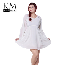 Kissmilk 2016 Women Plus Size A-Line Patchwork  Fashion Elegant Big Large Lantern Sleeve 3XL 4XL 5XL 6XL Chiffon Dress