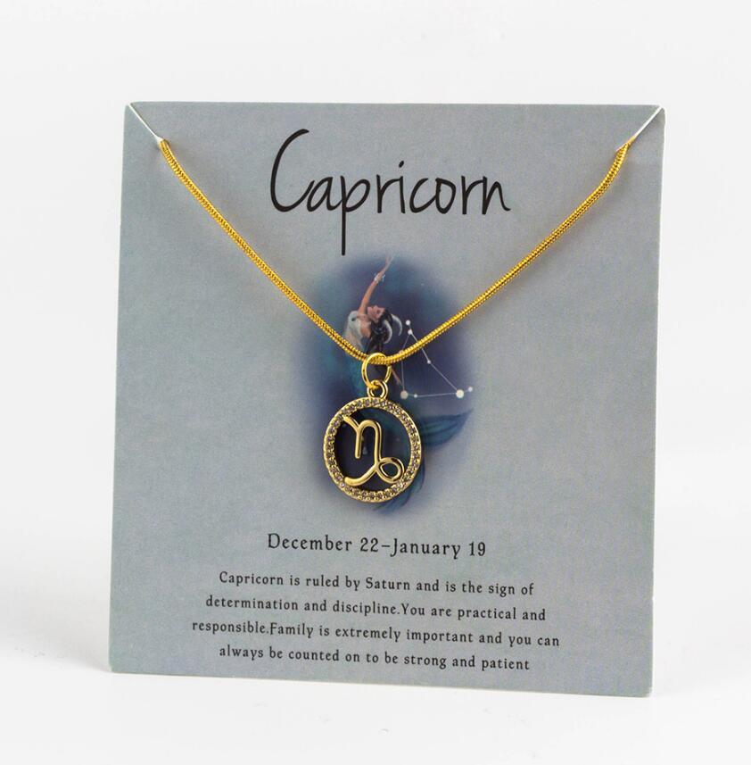 Ожерелье с подвеской в виде животных 12 созвездий для женщин, чокер для пар, массивная цепочка, ожерелье золотого цвета, Знак зодиака с коробкой для карт - Окраска металла: 8