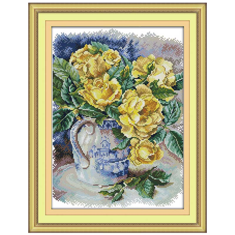 oneroom Yellow rose counted Cross Stitch 11CT 14CT counted Cross Stitch Set   DIY flower Cross-stitch Kit Embroidery Needlework